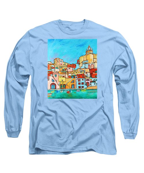 Boats In Front Of The Buildings Vii Long Sleeve T-Shirt by Xueling Zou