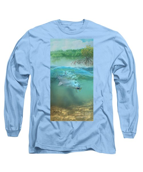 Long Sleeve T-Shirt featuring the painting Bone Fish by Rob Corsetti