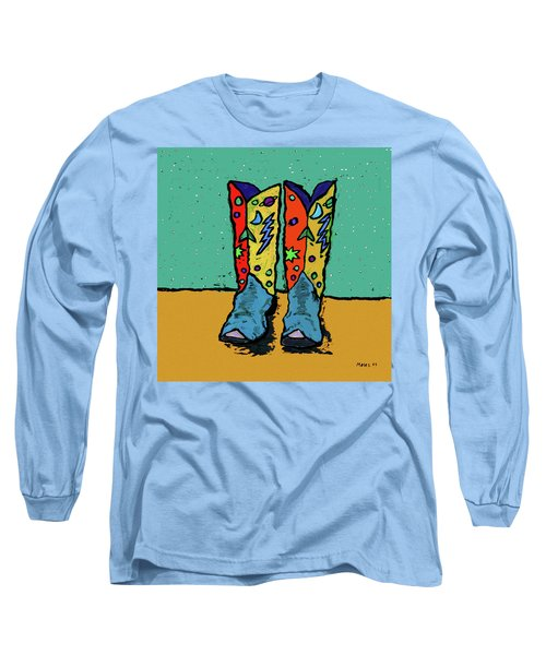 Boots On Teal Long Sleeve T-Shirt