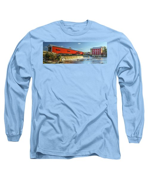 Long Sleeve T-Shirt featuring the photograph Bridgeton Bridge And Mill by Harold Rau