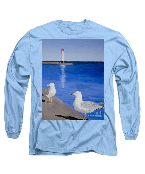 Bronte Lighthouse Gulls In Oil Long Sleeve T-Shirt