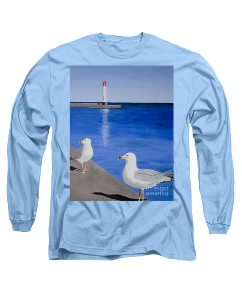 Bronte Lighthouse Gulls In Oil Long Sleeve T-Shirt