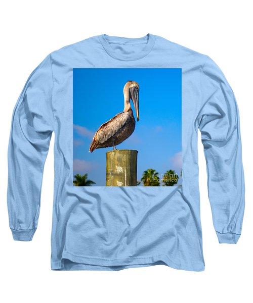 Brown Pelican - Pelecanus Occidentalis Long Sleeve T-Shirt by Carsten Reisinger