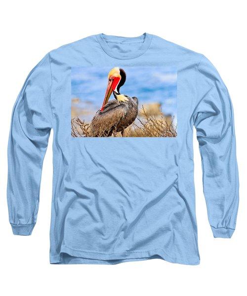 Brown Pelican Posing Long Sleeve T-Shirt