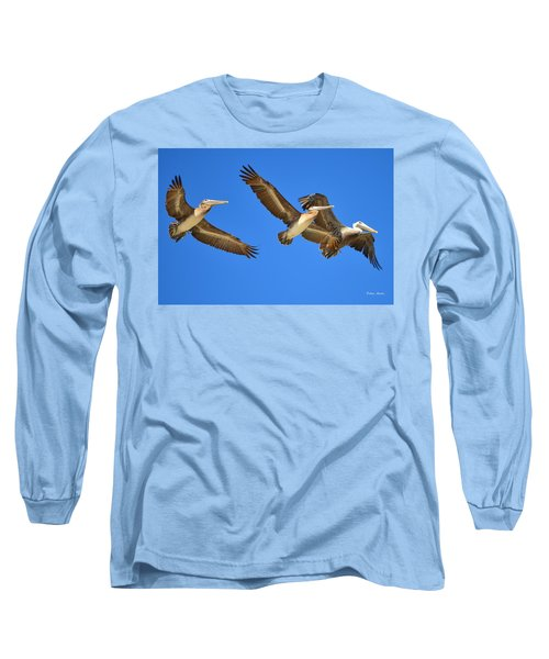 Long Sleeve T-Shirt featuring the photograph Brown Pelicans In Flight by Debra Martz