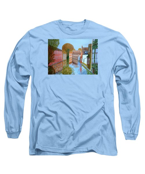 Long Sleeve T-Shirt featuring the painting Brugge Canal by Magdalena Frohnsdorff