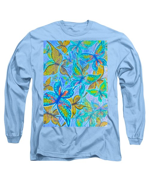 Long Sleeve T-Shirt featuring the mixed media Butterflies On Blue by Teresa Ascone