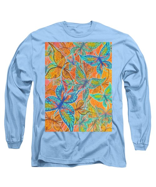 Long Sleeve T-Shirt featuring the painting Butterflies On Tangerine by Teresa Ascone