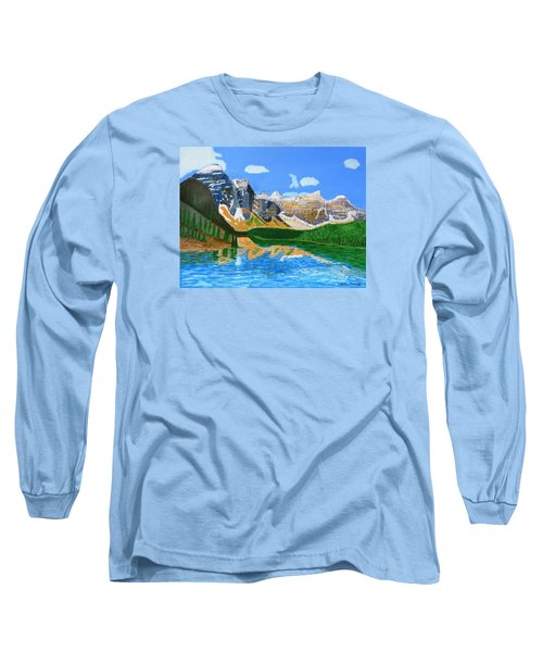 Canadian Mountains And Lake  Long Sleeve T-Shirt by Magdalena Frohnsdorff