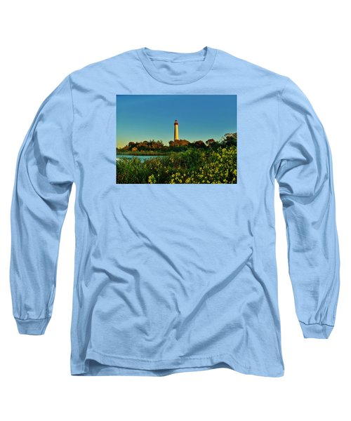Cape May Lighthouse Above The Flowers Long Sleeve T-Shirt by Ed Sweeney