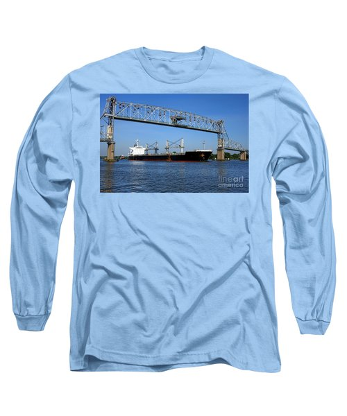 Cargo Ship Under Bridge Long Sleeve T-Shirt