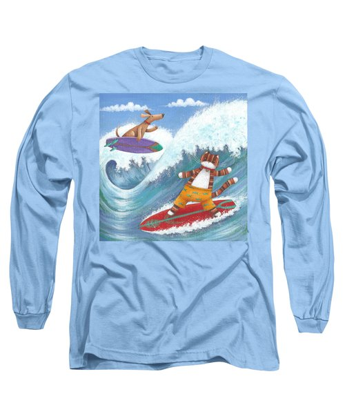 Cat And Dog Surfing Long Sleeve T-Shirt