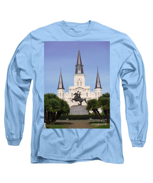 Long Sleeve T-Shirt featuring the photograph Cathedral In Jackson Square by Alys Caviness-Gober