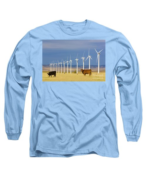 Cattle And Windmills In Alberta Canada Long Sleeve T-Shirt