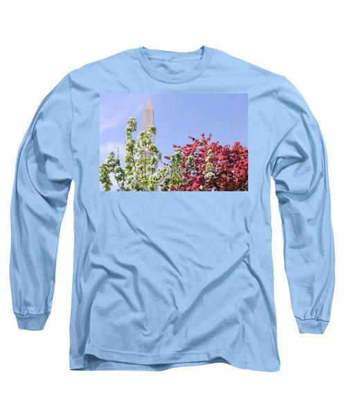 Cherry Trees And Washington Monument Four Long Sleeve T-Shirt by Mitchell R Grosky