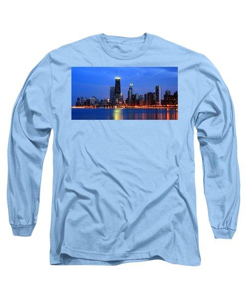 Chicago Dusk Skyline Hancock Long Sleeve T-Shirt