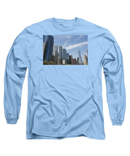 Chicago Skyscrapers Long Sleeve T-Shirt by The Art of Alice Terrill