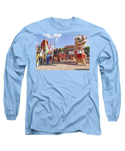 Chinese Lion Dancers During A Celebration. Long Sleeve T-Shirt