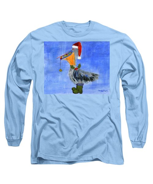 Christmas Pelican Long Sleeve T-Shirt by Jamie Frier