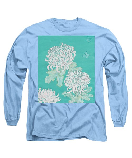 Long Sleeve T-Shirt featuring the painting Chrysanthemums And Butterflies by Stephanie Grant