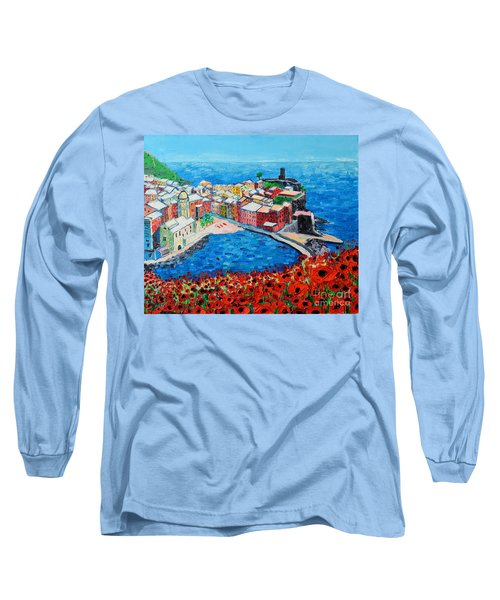 Cinque Terre Vernazza Poppies Long Sleeve T-Shirt