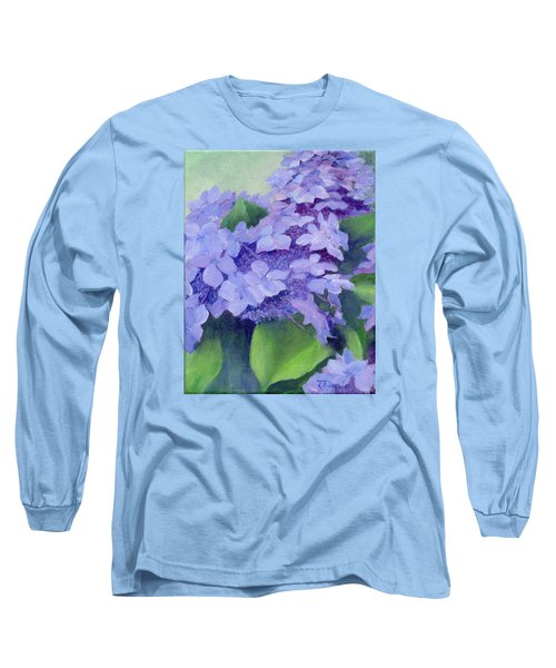Colorful Hydrangeas Original Purple Floral Art Painting Garden Flower Floral Artist K. Joann Russell Long Sleeve T-Shirt