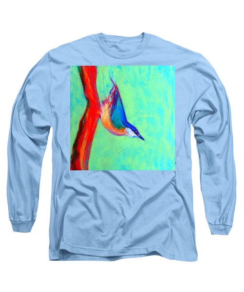 Colorful Nuthatch Bird Long Sleeve T-Shirt