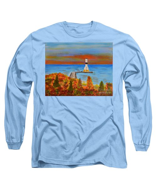 Long Sleeve T-Shirt featuring the painting Fall, Conneaut Ohio Light House by Melvin Turner