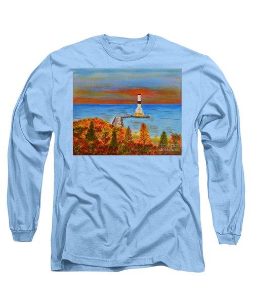 Fall, Conneaut Ohio Light House Long Sleeve T-Shirt