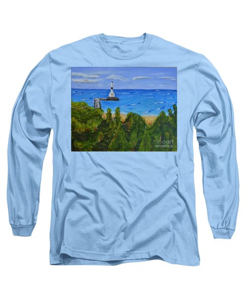 Long Sleeve T-Shirt featuring the painting Summer, Conneaut Ohio Lighthouse by Melvin Turner