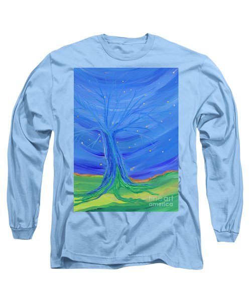 Long Sleeve T-Shirt featuring the painting Cosmic Tree by First Star Art