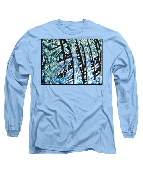 Criss Cross Lines Abstract Alcohol Inks Long Sleeve T-Shirt by Danielle  Parent