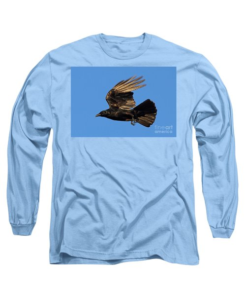 Long Sleeve T-Shirt featuring the photograph Crow In Flight by Meg Rousher