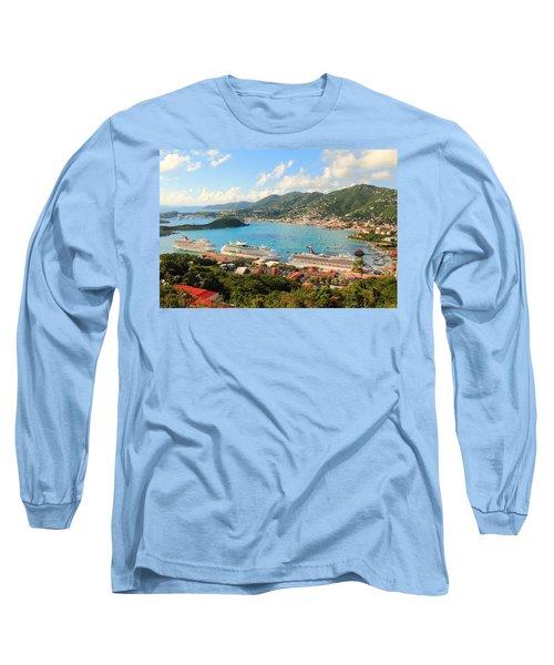 Cruise Ships In St. Thomas Usvi Long Sleeve T-Shirt