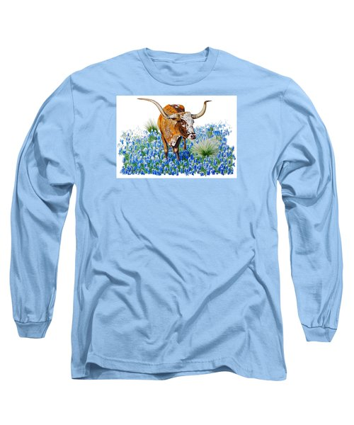 Da102 Longhorn And Bluebonnets Daniel Adams Long Sleeve T-Shirt