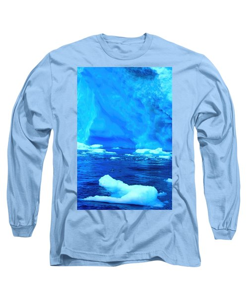 Long Sleeve T-Shirt featuring the photograph Deep Blue Iceberg by Amanda Stadther