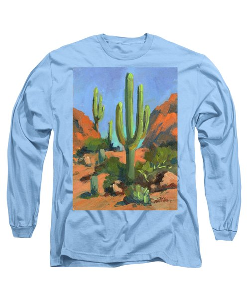 Desert Morning Saguaro Long Sleeve T-Shirt by Diane McClary