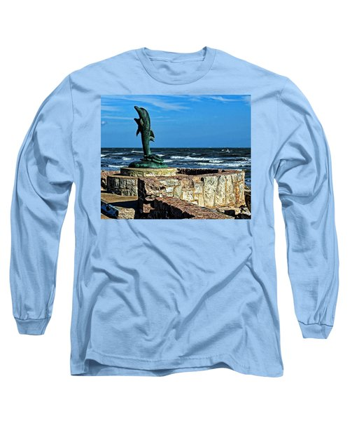 Dolphin Statue Long Sleeve T-Shirt by Judy Vincent