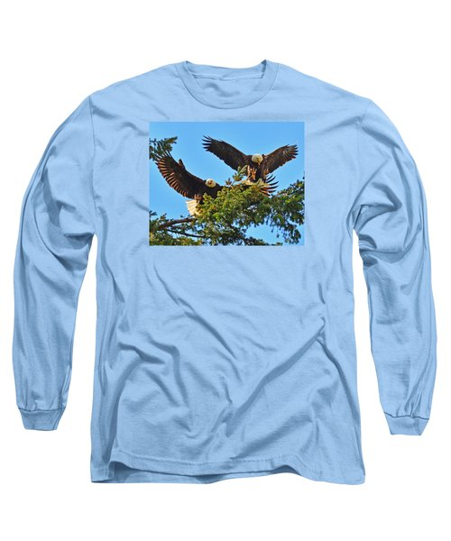 Long Sleeve T-Shirt featuring the photograph Double Landing by Jack Moskovita