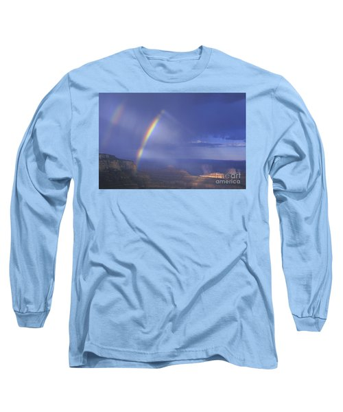Double Rainbow At Cape Royal Grand Canyon National Park Long Sleeve T-Shirt