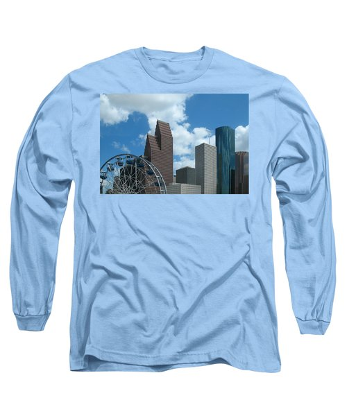 Downtown Houston With Ferris Wheel Long Sleeve T-Shirt by Connie Fox