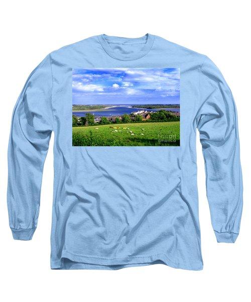 Dundrum Bay Irish Coastal Scene Long Sleeve T-Shirt by Nina Ficur Feenan