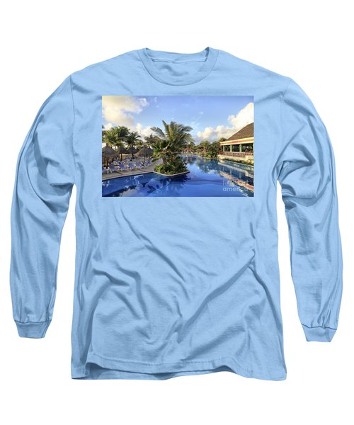 Long Sleeve T-Shirt featuring the photograph Early Morning At The Pool by Teresa Zieba