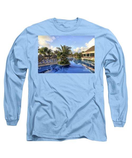 Early Morning At The Pool Long Sleeve T-Shirt by Teresa Zieba