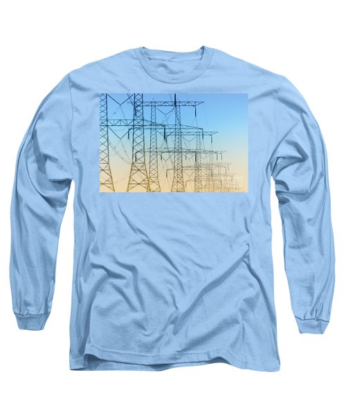 Electricity Pylons Standing In A Row Long Sleeve T-Shirt