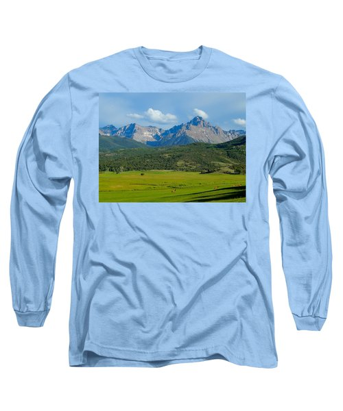 Elk Below Mount Sneffels Long Sleeve T-Shirt by Dan Miller