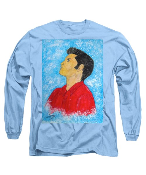 Elvis Presley Singing Long Sleeve T-Shirt by Kathy Marrs Chandler