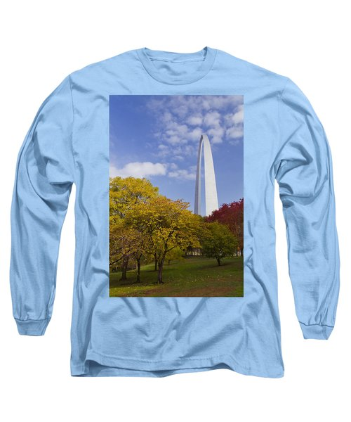 Fall At The St Louis Arch Long Sleeve T-Shirt by Garry McMichael