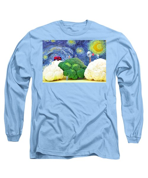 Farming On Broccoli And Cauliflower Under Starry Night Long Sleeve T-Shirt by Paul Ge