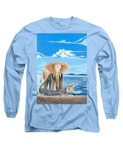 Long Sleeve T-Shirt featuring the painting Faune D'afrique Centrale 02 by Emmanuel Baliyanga